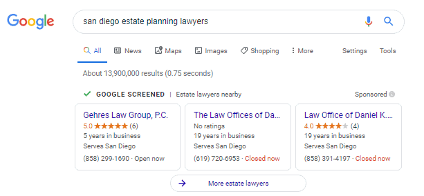Google Local Services Ads for San Diego Estate Planning Lawyer Search