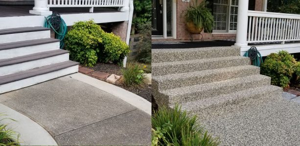 the concrete front steps get a total new look after being resurfaced with stone pebble epoxy flooring material