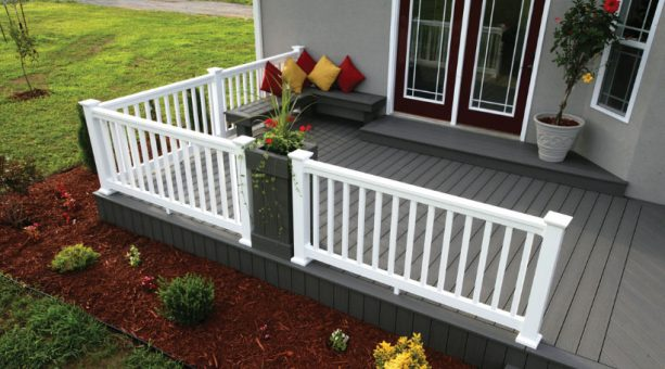 a dark grey deck paired with regular grey house exterior