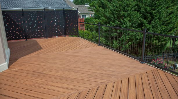 black-colored metal screen as deck railing pair