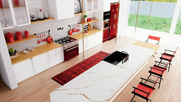 another view of the contemporary kitchen for a clearer look to the black and red decorative details