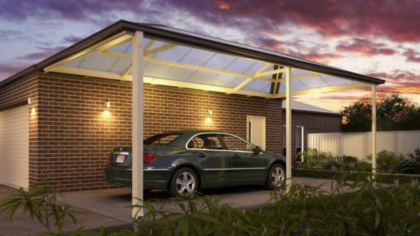 a simple contemporary attached carport with semi-transparent polycarbonate roof