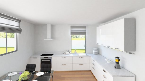 clean white cabinets with a little touch of black appliances in this minimalist kitchen