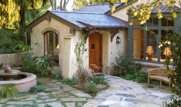 cottage's front walkway landscape idea made of flagstone