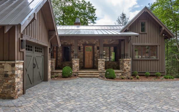 mountain home exterior with brown-stained wall siding