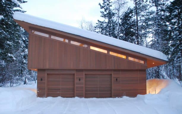 unique garage apartment with sustainable cedar siding and recycled metal roofing