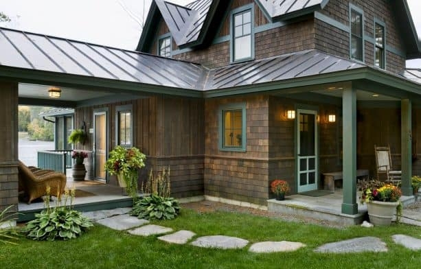 bark semi-solid stain siding color and a medium bronze finish metal roof combination