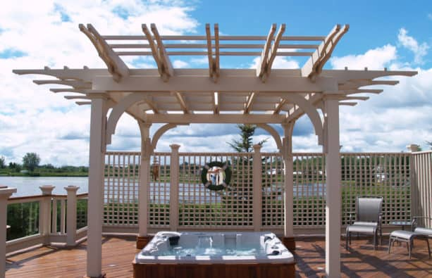 lattice used for adding privacy to the hot tub area