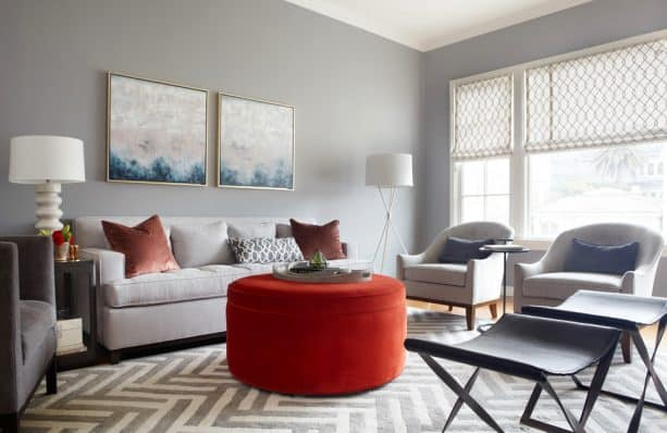 transitional living room with benjamin moore storm AF-700 wall paint color