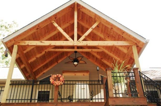 rustic pine T&G roof deck