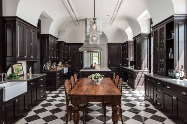 black and white marble floor paired with brown wooden dining table set