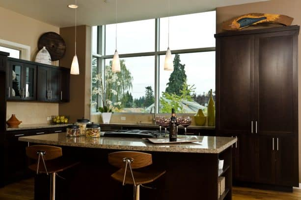 raised ranch kitchen remodel with large glass window