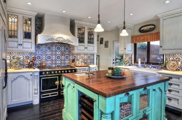 turquoise kitchen island with wooden top