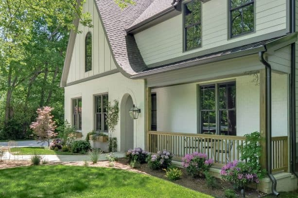 grey trim to complete an off-white exterior siding