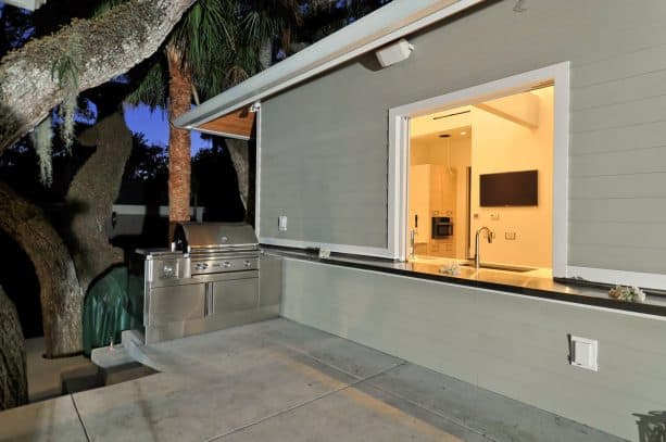 a more convenient grilling with pass through window to access the kitchen inside the house