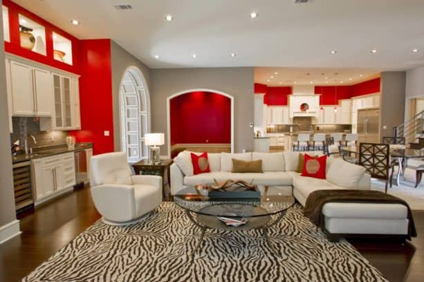 white, grey, and red color combination for a stylish look in a living room