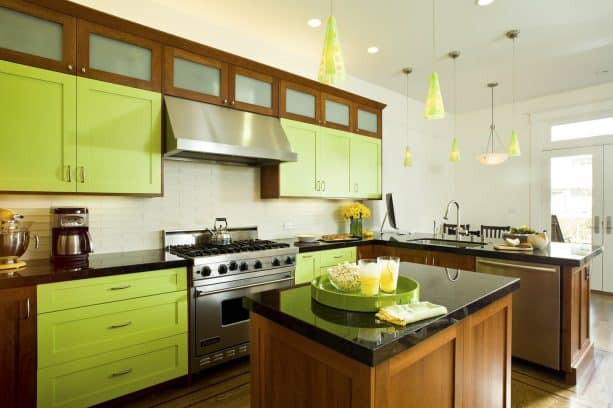 bright lime and wood cabinets