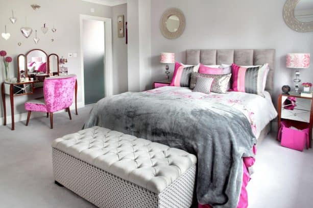 pink and grey bedroom in luxurious style