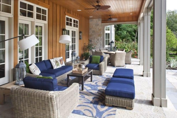 a country home porch with tongue and groove ceiling