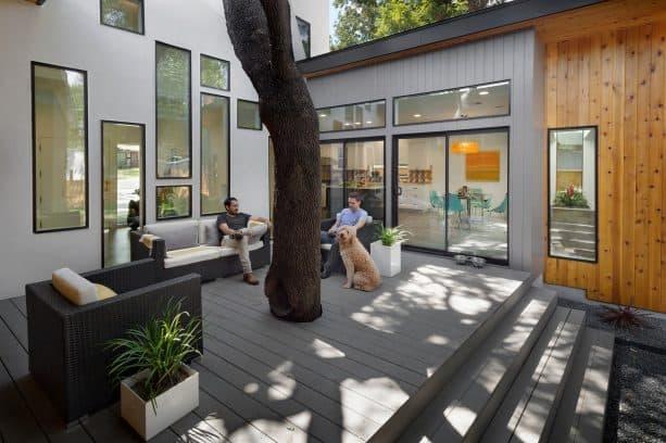 a darker grey deck as a match for a light grey house