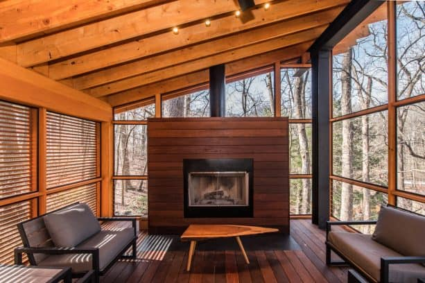 an industrial screened porch looks very stylish with wood materials and fireplace