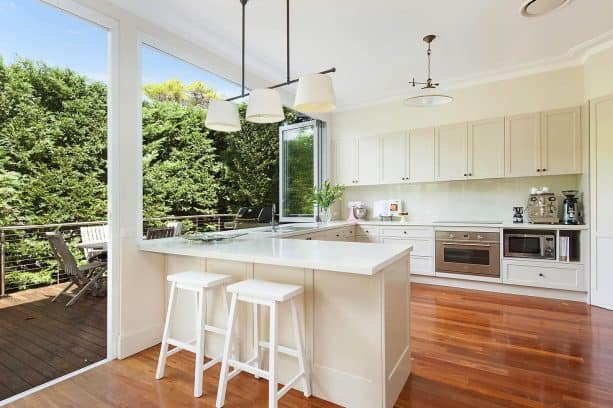 the semi-outdoor feel in the kitchen area when the window is fully-opened