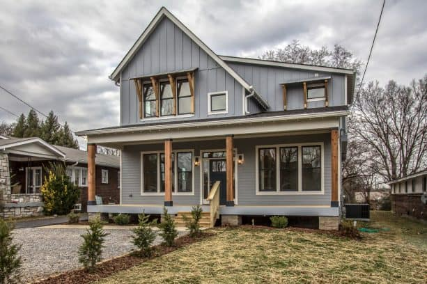 an urban farmhouse home exterior design with Steely Gray SW 7664 paint color