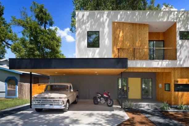 a modern carport looks bold in its simplicity