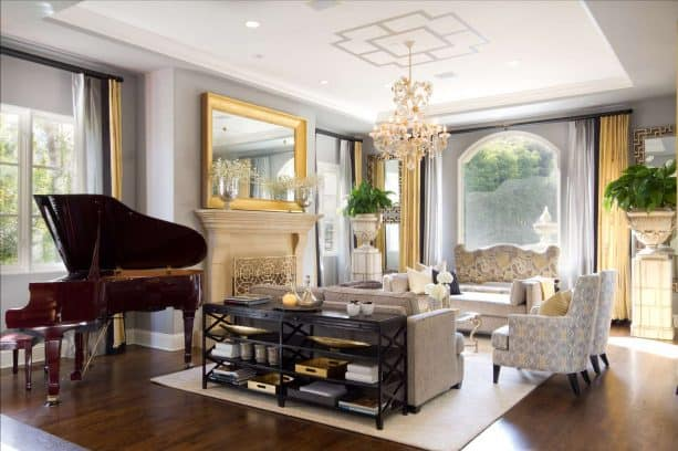 classic living room and music area in a perfect combination of gold and gray