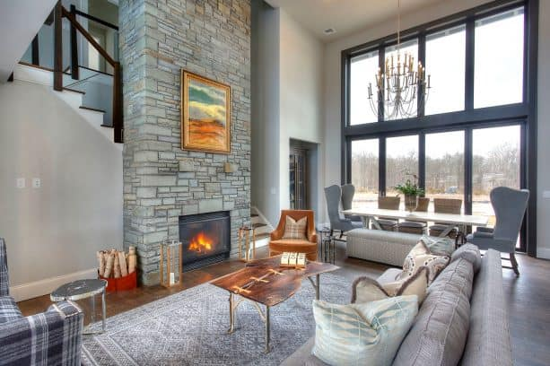 sparks of gold living room with and all-gray decorations
