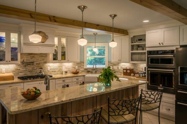 white cabinets large farmhouse l-shaped kitchen built-in with black microwave
