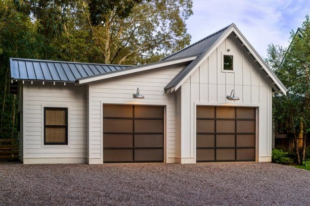 glass metal garage doors on a contemporary farmhouse style garage apartment