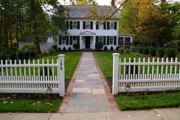 rich bluestone front walkway landscaping idea