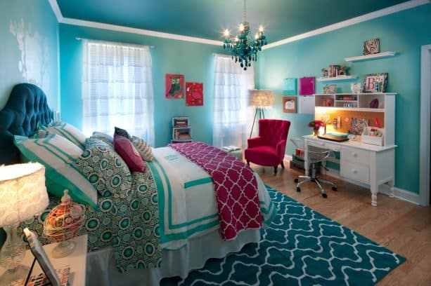 a girly bedroom that lets largo teal marry purple and create a beautiful private oasis