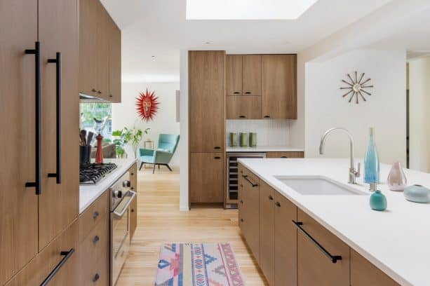 after remodel a ranch kitchen with white caesarstone countertops