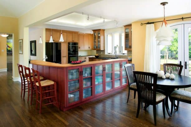 after remodel raised ranch kitchen with bar countertop and stained the new oak floors