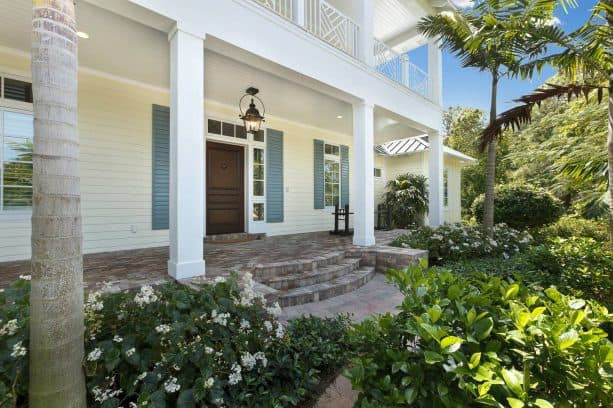 long and thin gray shutters for a tropical porch