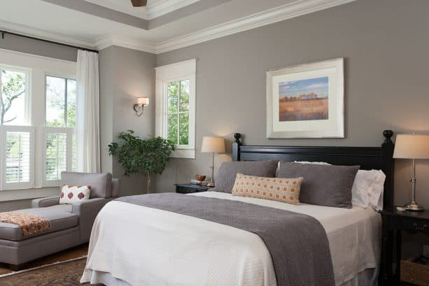 craftsman master bedroom with Benjamin Moore Rockport Grey HC-105 wall color and Benjamin Moore White Dove OC-17 trim color combinations