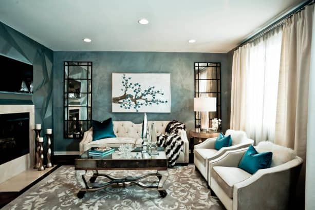 cream living room color that go with teal