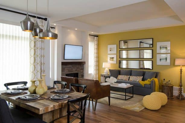 transitional living room with Tuscan sun yellow accent wall