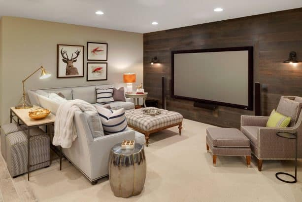 grey and brown living room with rustic style
