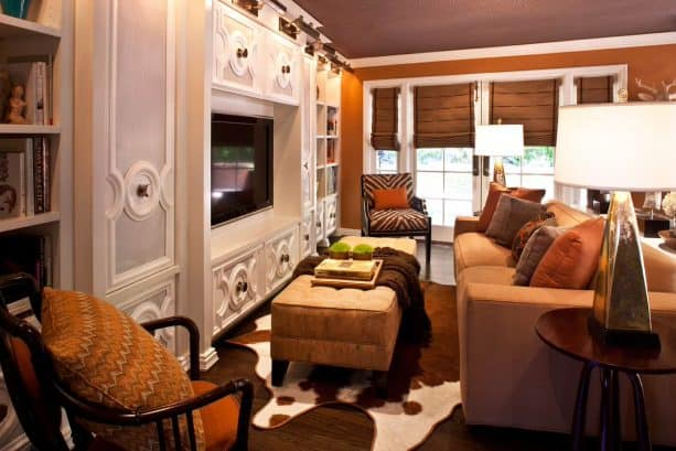 hobbled roman shades as French family room entrance coverings
