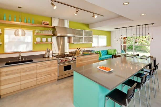turquoise and olive green contemporary kitchen