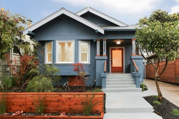 stunning look created by pairing grey stucco and off-white trim