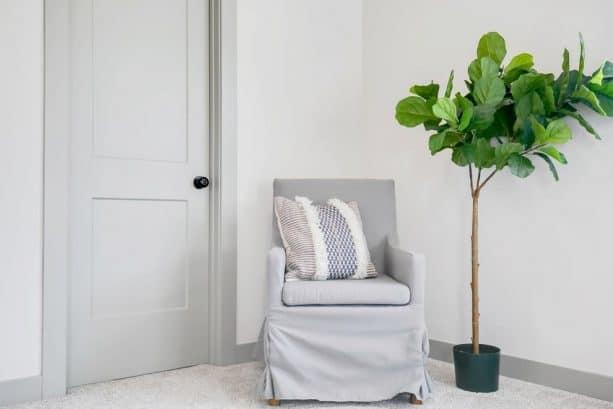 white walls with grey trim and grey door