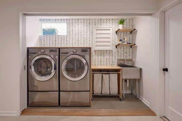 fully-opened glass pocket doors for easier access to the laundry area