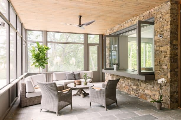 pass through window can create access between kitchen and screened porch too