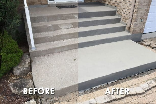 the before and after photo of a simple concrete steps resurfacing project with thin cement overlay