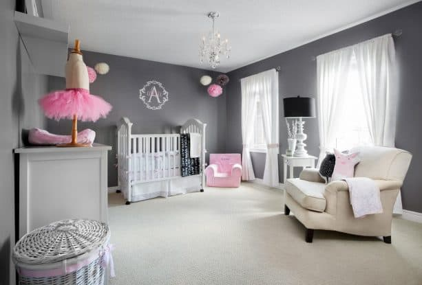 beige carpet color goes with dark grey walls for nursery room