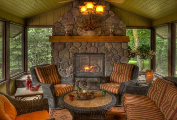 inspiring rustic screened porch design with fireplace for a quality conversation